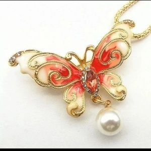 New Betesy Johnson red butterfly brooch/necklace